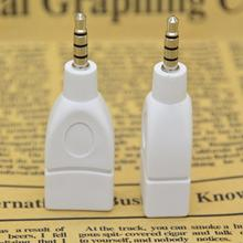 Converter Adapter Plug 1 Pcs High Quality White 3.5mm Male AUX Audio Plug Jack to USB 2.0 Female Converter Adapter Plug