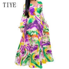 TIYE Autumn Printed Chiffon Long Dresses Women V Neck Long Sleeve Belted Evening Party Dress Loose Vintage Maxi Dress Robe Femme women chain print long maxi dress 3 4 sleeve turn down collar a line midi dress belted casual dresses robe femme spring autumn