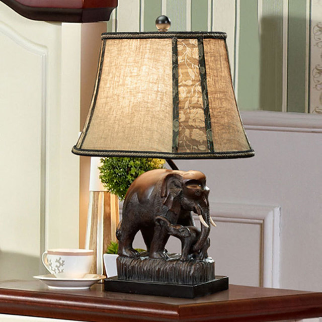 Top Desk Lamps Southeast Wind Thai Elephant Lamp Decorated Living Room  Table Lamp Bedroom Bedside Lamp Part 78