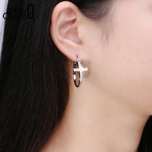 Hot Sale Big Hoop Earrings with CZ Diamonds Classic Cross Style Design Jewelry High Quality Women Earrings DAE033
