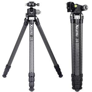 Image 2 - XILETU XLS284C + G44 statyw z włókna węglowego profesjonalna fotografia statyw kamery stojak podwójna Panorama głowica kulowa do DSLR Tripode
