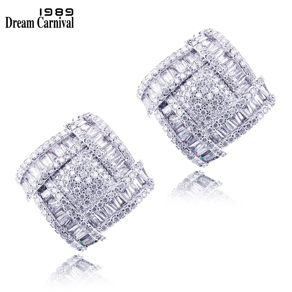 Dreamcarnival1989 New Arrival Women Fashion Deluxe Stud Earrings Synthetic Cubic Zirconia 352pcs Prong Setting Wedding Jewelry