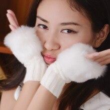1 пара модные однотонные полушерстяные искусственного кролика Мех животных Для женщин без пальцев Прихватки для мангала вязаные крючком Зимние перчатки теплые варежки для девушек