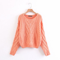 Casual Cute Orange Jumper Appears Knit Crochet Round Neck Cross Spiral Pattern Decoration High Quality Comfortable Sweater