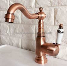 Antique Red Copper Bathroom Basin Sink Faucet Single Handle Single Hole Mixer Tap Deck Mounted Bnf398