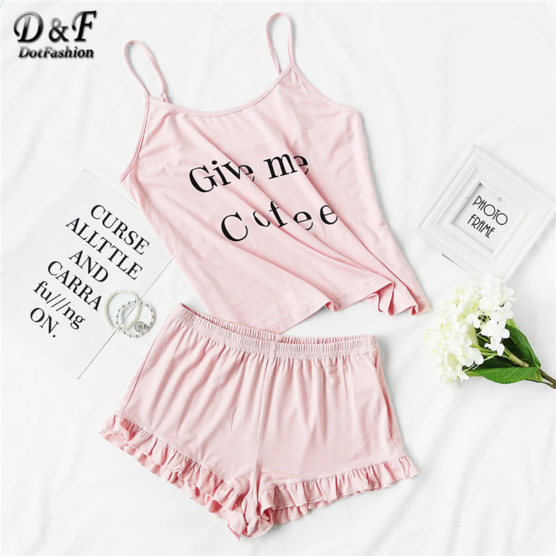 Dotfashion Letter Print Cami And Ruffle Shorts   Pajama     Set   2019 New Fashion Pink Spaghetti Strap Sleeveless Ruffle   Pajama     Set