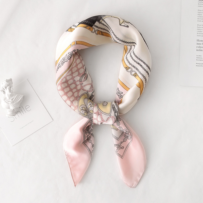 2019 Fashion Chains Print Office Small Hair Neck Hijabs Foulard New Summer Luxury Brand Silk Scarf Square Women Shawls And Wraps