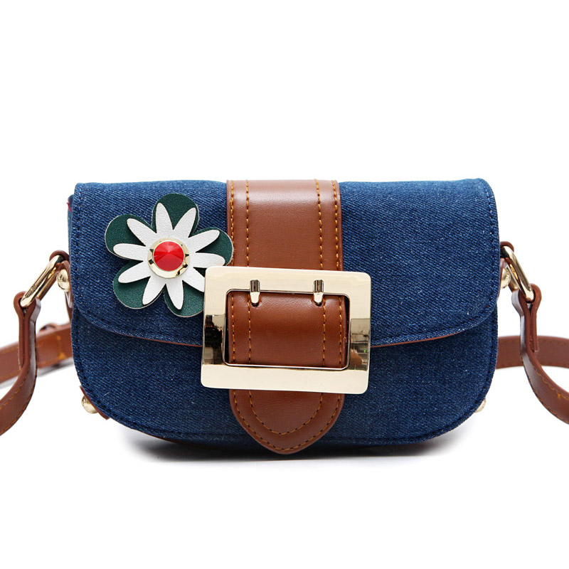 2016 Famous Brand Designer Mini Blue Shoulder Bag High Quality Jean Crossbody Bag for Women Vintage