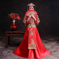 Red Trailing Qipao Women Bride Traditional Wedding Gown 2018 New Chinese Phoenix Embroidery Dress Cheongsam Style Chinois Femme