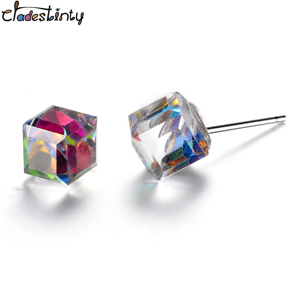 Chadestinty Women Crystal Earrings Small Colorful Blue Green Red Cube Stud Earring Party Costume Jewellery Christmas Gift jewellery