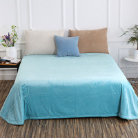 Fresh Water Blue Solid Color Crystal Velvet Soft Sheets Bedding Hotel 1 Pc Bed Sheet Home Textile King/Queen 240x250cm 190x230cm