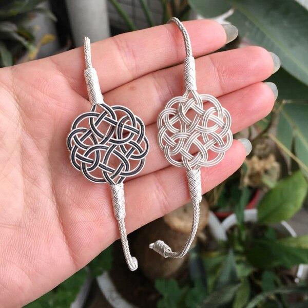 Turkish Kazaziye Love Knot Pendant Handmade 999 Sterling Silver Bracelet 1000K Kazaz Turkey Arabic Jewelry