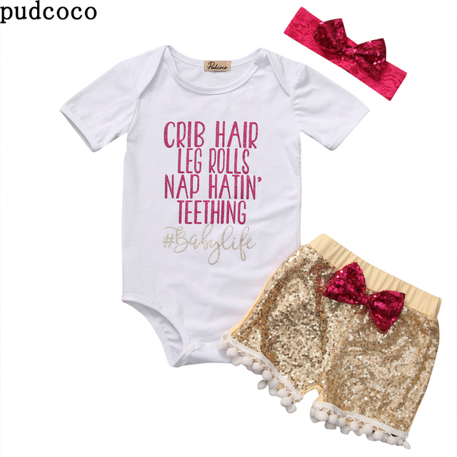 Summer Baby S Clothes White Bodysuit Sequin Pants Gold Bowknot Headband Outfits