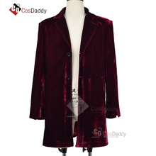 Doctor Who 12 Cosplay Costume 남성 부르고뉴 벨벳 코트 Blue Woollen Coat 클래식 TV CosDaddy