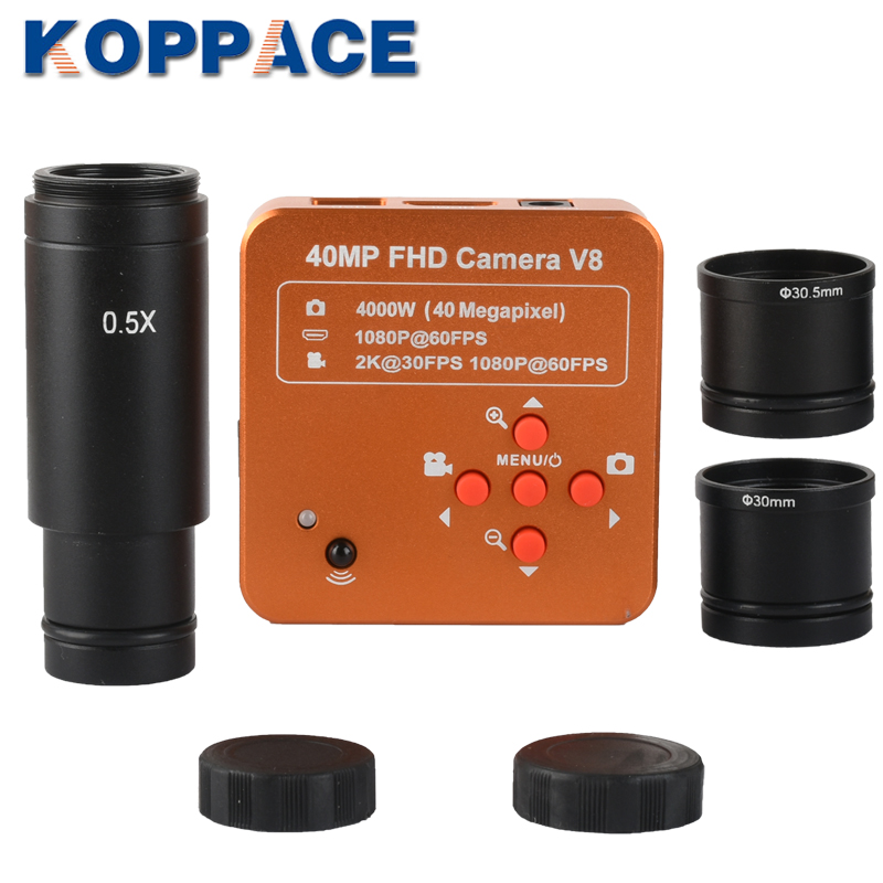 KOPPCE 40 Million Pixel,HDMI Microscope Camera,0.5X Electronic Eyepiece,23,2mm,30mm And 30,5mm Adapter,For Biological Microscope