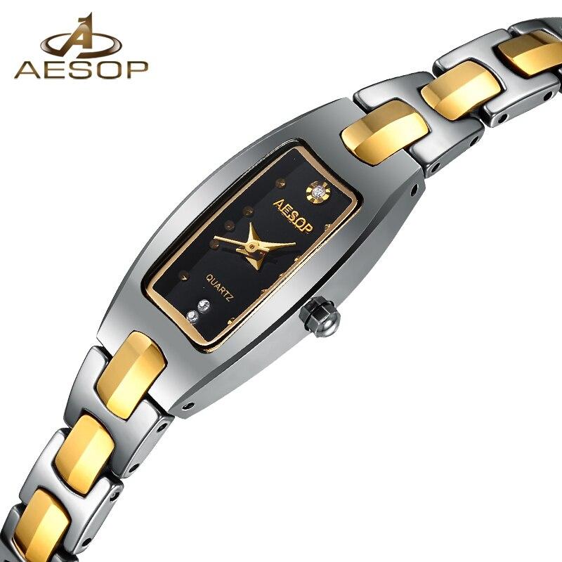 AESOP Tungsten Steel Quartz Watch Women Rectangle Gold Bracelet Wristwatch Elegant Ladies Clock Montre Femme Relogio Feminino 46 stylish golden hollow rounded rectangle hasp bracelet for women