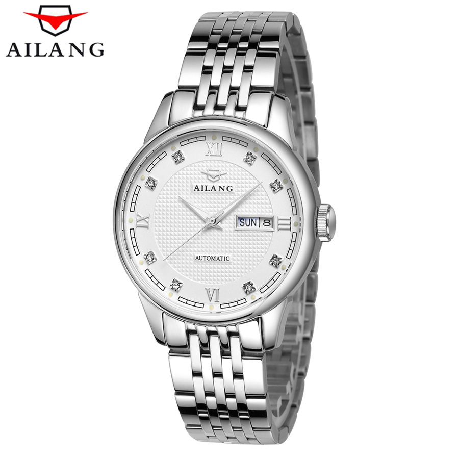 AILANG Men Automatic Mechanical Watches Top Brand Luxury Stainless Steel Watch Mens Sport Wrist Watch Male Business relogio tevise men black stainless steel automatic mechanical watch luminous analog mens skeleton watches top brand luxury 9008g
