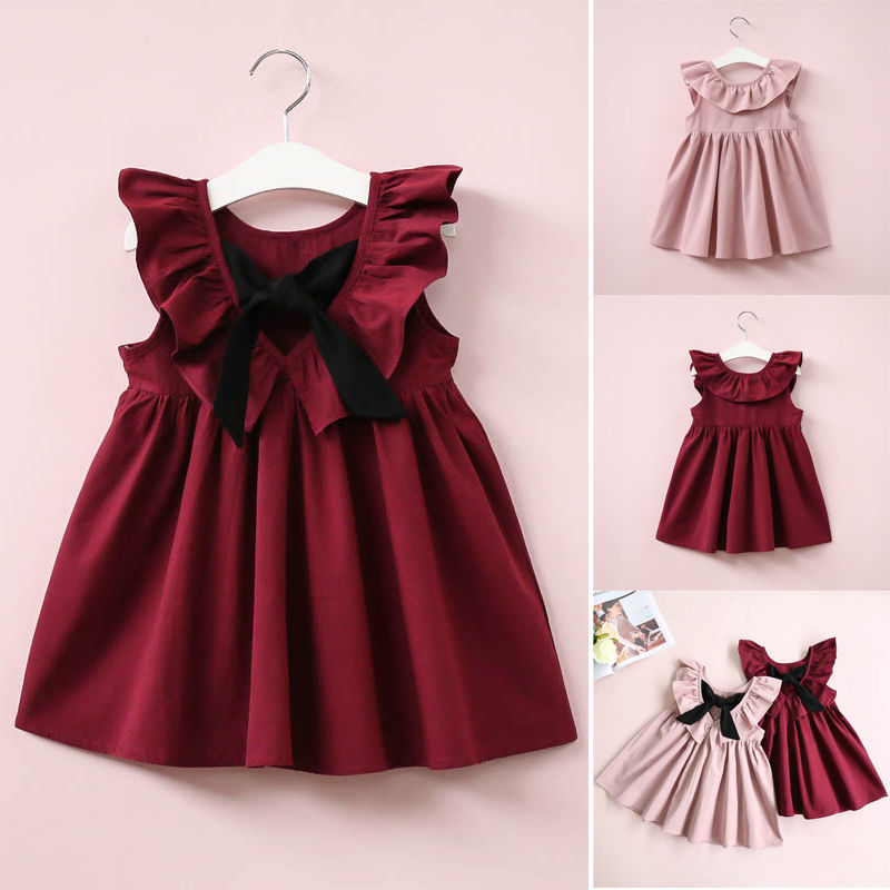 2017 Babies Girls Stylish Ruffled Dress Toddler Girl Tutu Dresses Kids Baby Princess Party Pageant Dresses Bowknot Clothing toddler kids baby girls princess dress party pageant wedding dresses with waistband