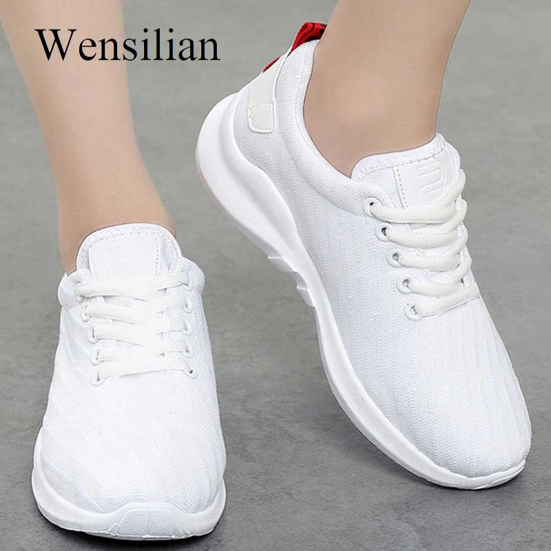 Vulcanize Shoes Kvinder Air Mesh Trainers Sneakers For Ladies White - Damesko