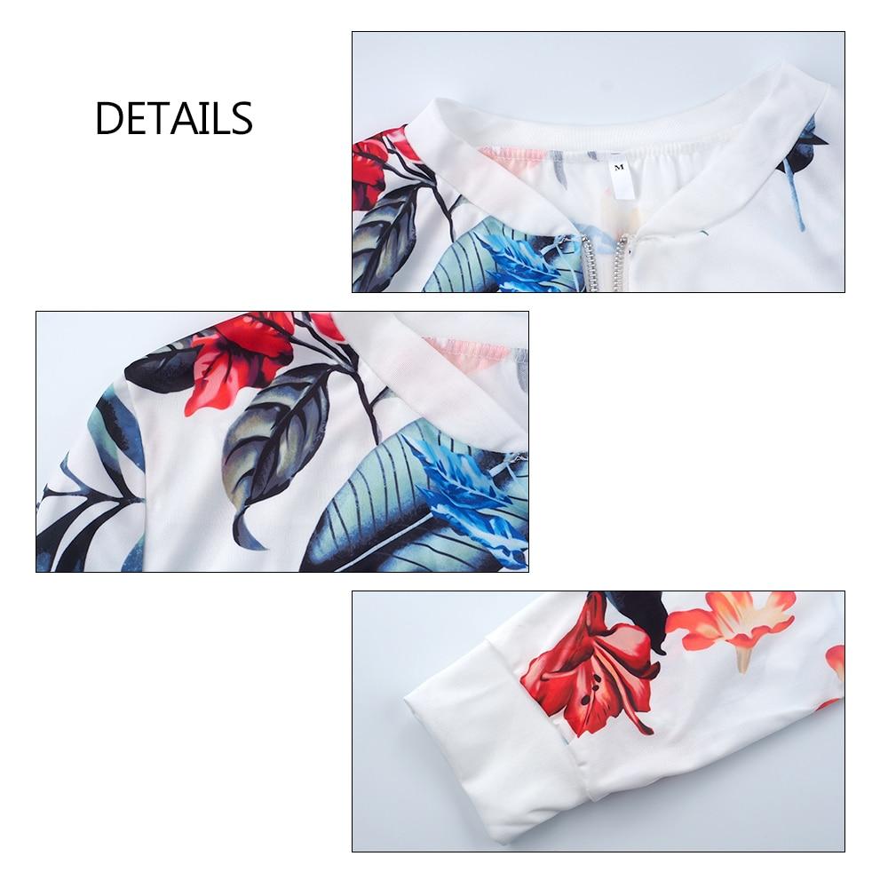 Print Bomber Jacket Women Flowers Zipper Up Retro Coat Spring Summer Long Sleeve Basic Plus Size Short Biker 5