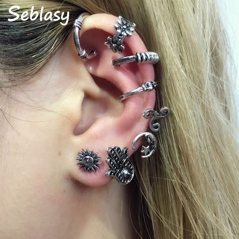 Seblasy Vintage Punk Big Moon Star Sun Flower Hamsa Hand Clip Earrings Set For Women Silver Color Night Club Jewelry 8 Pcs/set Good Companions For Children As Well As Adults Clip Earrings