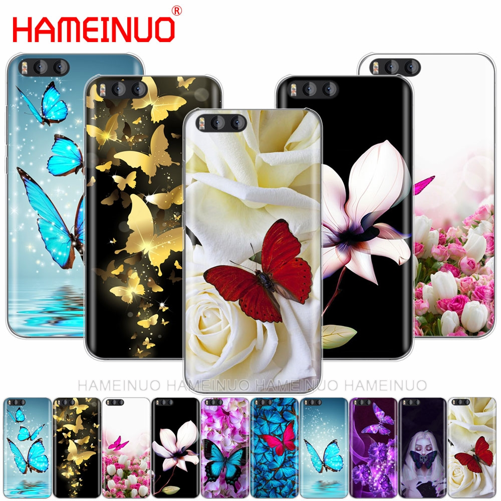 HAMEINUO butterfly on white roses flower Cover Case for Xiaomi Mi A1 A2 3 4 5 5S 5C 5X 6 6X 4S 4I 4C NOTE MAX 2 mix plus