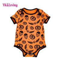Baby Bodysuits Boy Short Sleeve Halloween Girls Infant Cartoon Skull Cotton Jumpsuit Kids Carters Newborn Clothing