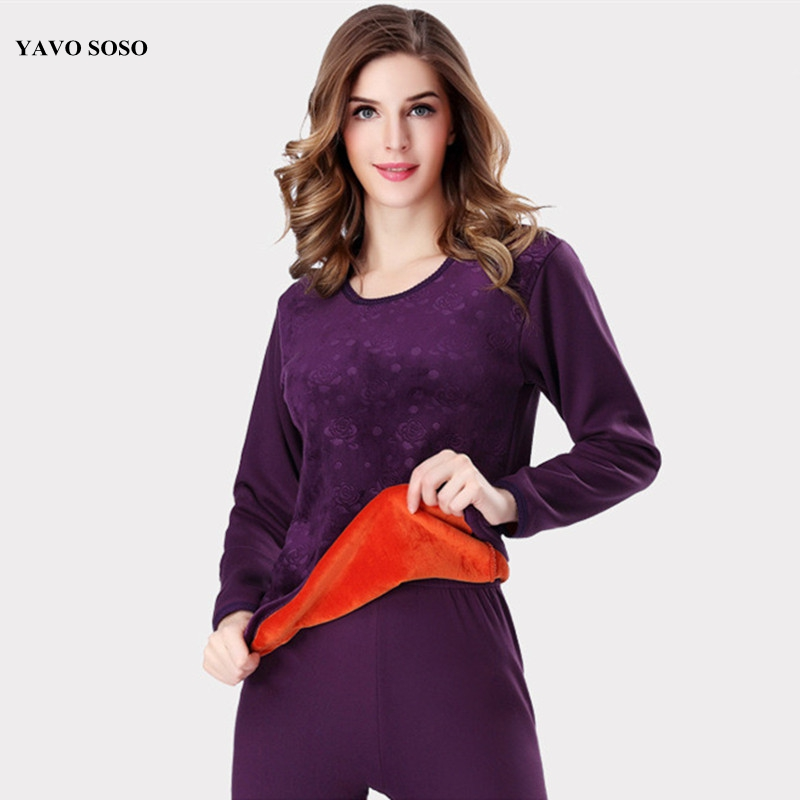 YAVO SOSO Winter Style Warm Thermal Underwear Women Sets Soft Cotton Embossing Print Thick Plus Velvet Plus Size XXXL Long Johns
