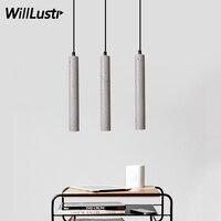 Nowoczesne cementu wisiorek LED lampy minimalistyczny design oświetlenie wiszące restauracja hotel biuro jadalnia betonu zawieszenie światło w Wiszące lampki od Lampy i oświetlenie na