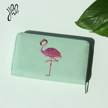 Women Wallets Luxury Brand Flamingo Pattern Many Compartments Fashion Wallet Long Zipper Lady Wallets And Purses 500588