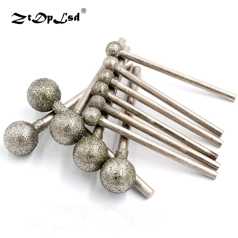 2.35mm Shank Diamond Spherical Polishing Grinding Head Mounted Points Bit For Dremel Rotary Tools Needle Coated Spheres Burr