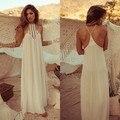 2015 Estilo Verão Chiffon Branco Longo Vestido de Marca Elegante Magro Moda Sem Mangas vestidos de Festa para As Mulheres S M L 34