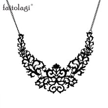 Hollow Vintage Statement Necklace Women Jewelry Metal Chain Pendant Necklace Sweater Fashion Flower Kolye