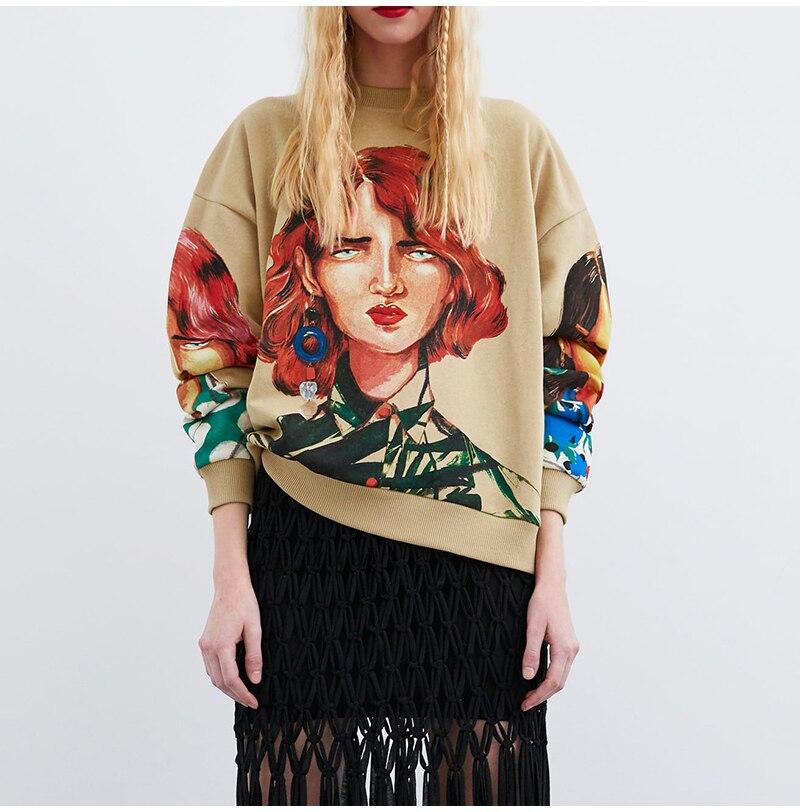 Artsnie streetwear character print women sweatshirt spring 19 o neck long sleeve pullover knitted oversized hoodie sweatshirts 4