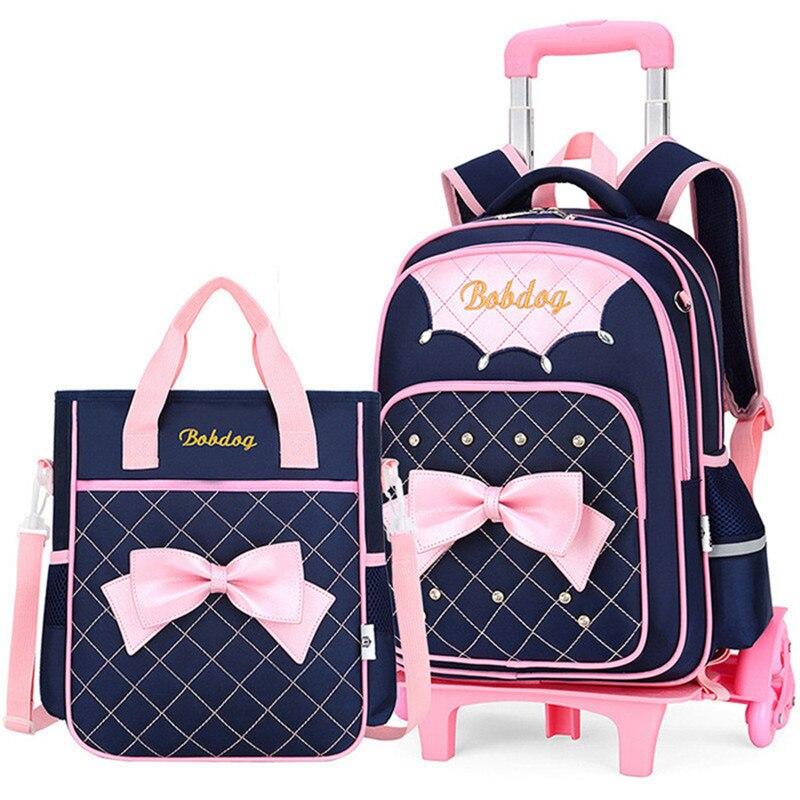 Carrinho de Bagagem Bolsas de Livro Bolsas de Rodas Crianças Meninos Meninas Mochila Removível Escola 6 Princesa