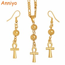 цены Anniyo Egyptian Ankh Cross Necklace Earrings for Woman,Gold Color African Egypt Hieroglyphs Jewelry Gifts,Crux Ansata #100006