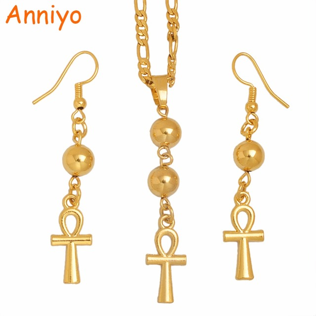 Anniyo Egyptian Ankh Cross Necklace Earrings For Womangold Color
