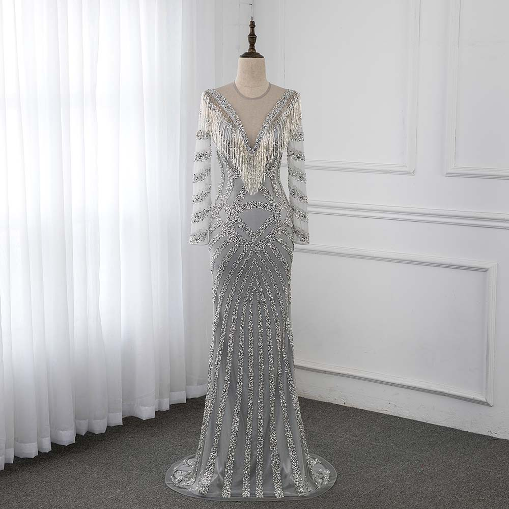 Silver Long Sleeve Crystal   Evening     Dress   O Neck Formal Gown Mermaid   Dresses   YQLNNE