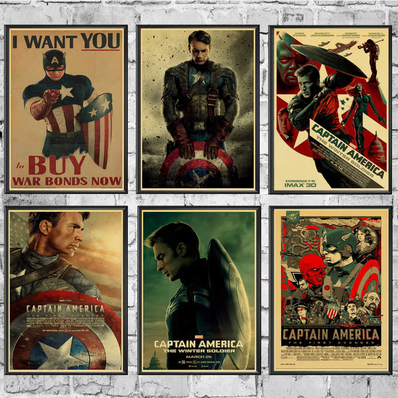 Marvel Comics Poster Captain America Wall Stickers Vintage Poster Prints High Quality For Bar And Home Decor