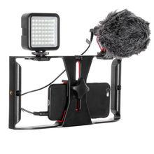 Держатель для камеры для смартфона и видеосъемки стабилизатор ручка+ микрофон BOYA BY-MM1+ 49 светодиодный светильник комплект для съемок