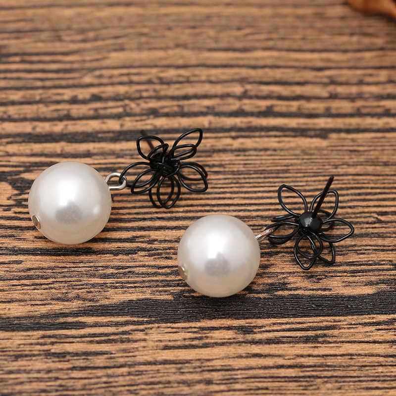 Pendientes de perlas TDQUEEN para mujer hechos a mano negro hueco flor rojo cuentas Vintage colgante declaración pendientes regalo de joyería