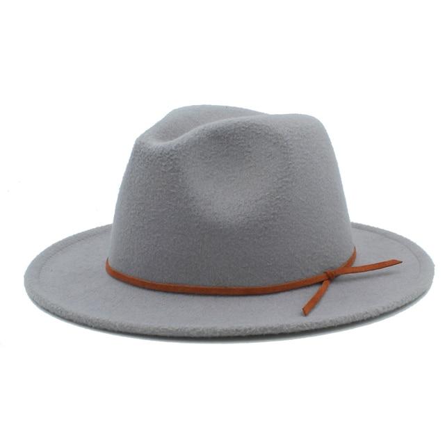 Retro Women Men Wool Fedora Hat For Gentleman Elegant Lady Floppy Cloche  Wide Brim Jazz Church Godfather Cap Szie 56-58CM c95565158c6c