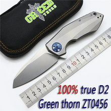 2016 Green thorn ZT0456 flip folding knife D2 Blade TC4 titanium bearing handle outdoor camping tool pocket knife EDC tool
