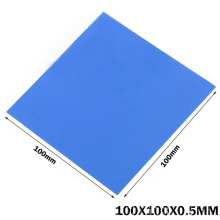 100Pcs Gdstime Bule 0.5mm thickness thermal Pad 100*100*0.5mm Silicone Thermal Laptop Computer CPU Graphics Card Chip He