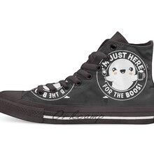 I'm Just Here for the Boos/Милая Повседневная парусиновая обувь на Хэллоуин с изображением призрака; обувь на заказ; Прямая