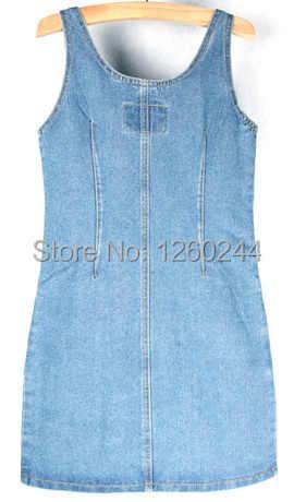 Женское джинсовое платье 2019 Лето корейский стиль винтажное потертое двубортное сексуальное платье с v-образным вырезом без рукавов облегающее синее джинсовое платье 1111