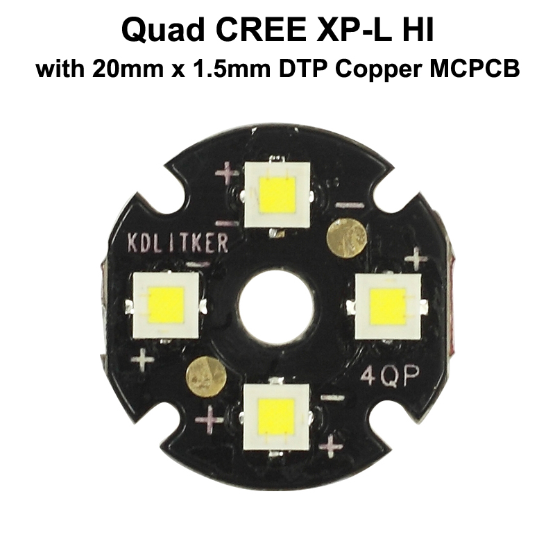 Quad Cree XP-L HALLO LED Emitter mit KDLITKER 20mm x 1,5mm DTP Kupfer PCB (Parallel) w/optik