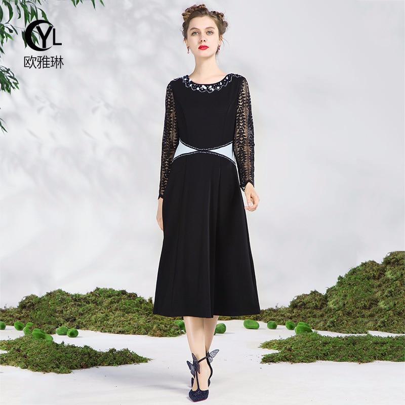 799989d476a51 Robe Dentelle Lourds 2018 Femmes Industries Plus Noir Perle Nail La  Vêtements S Broderie Taille Printemps ...