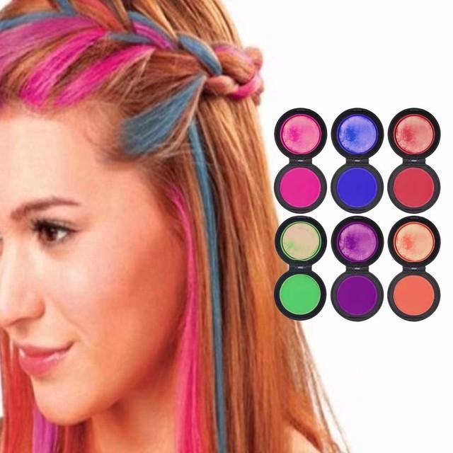 6 Color Fashion Hair Powder Colors Hair Dye Temporary Hair Chalk ...