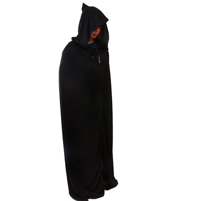 Black Long Cloak With Hat For Women/Men For Holloween Adult Devil Costumes Clothing Christmas Party Costume Cape Death Cloak